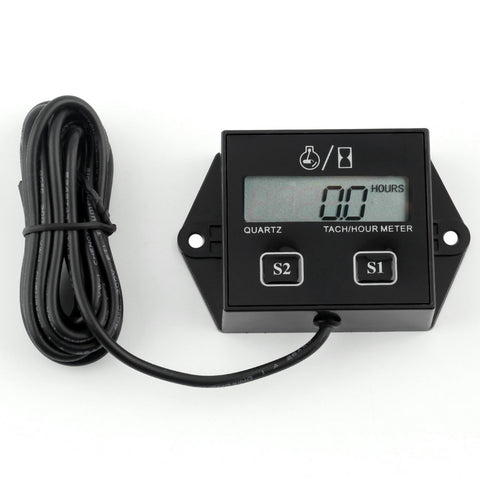 Digital Timers Tach Hour Meter Motorcycle electronic Tachometer in Car with Wire Gauge LCD Display For Motor Stroke Engine Spark