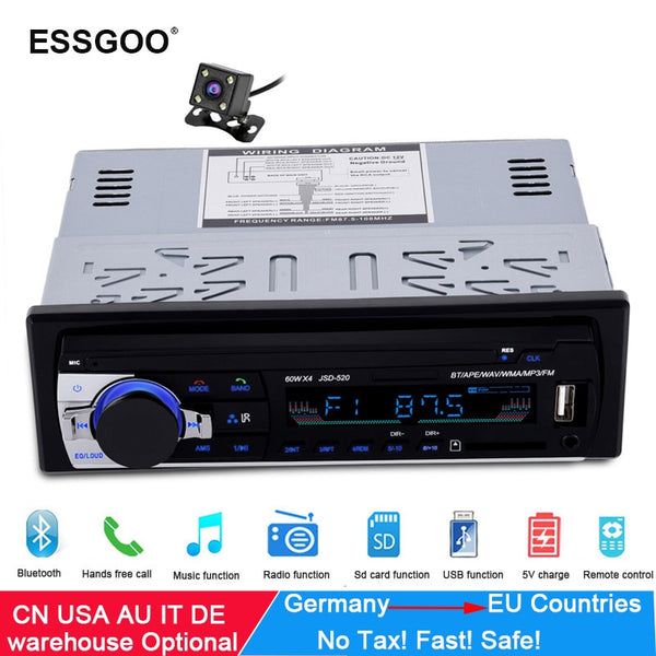 Essgoo Bluetooth Car Stereo FM Radio MP3 Audio Player 5V Charger USB SD AUX Auto Electronics Subwoofer In-Dash 1 DIN Autoradio