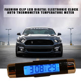 Fashion Car Air Vent Outlet Clip-on LCD Digital Electronic Watch Accurate Clock Auto Thermometer Temperature Meter