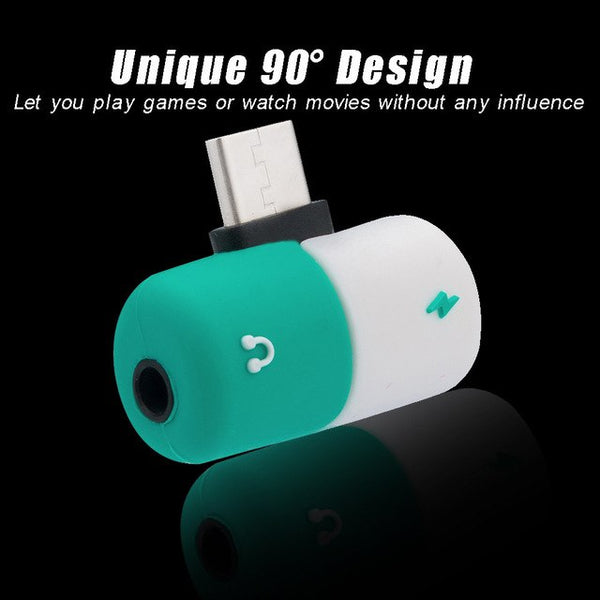 Fast Charging type c to Earphone 3.5mm Audio Cable Capsule Pill Shape Charger Adapter Splitter For Samsung Xiaomi 6 Note3 #Y