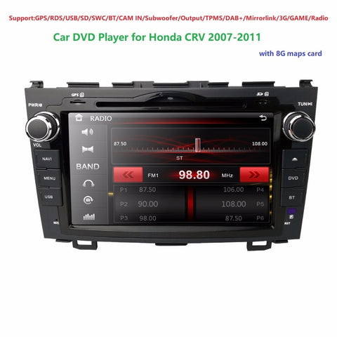 "For HONDA CRV 2007-2011 GPS Navigation 8""Car Stereo/RDS/USB/SD/SWC/BT/CAM IN/Subwoofer/Output/TPMS/DAB+/Mirrorlink/3G/GAME/Radio"