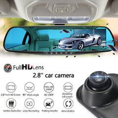 HD 1080P 2.8in LCD Display Screen 90 Degrees Rearview Mirror Dash Cam Camera Video Recorder Night Vision Auto Car Vehicle DVR