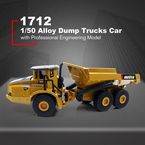 HUINA TOYS NO.1712 1/50 Alloy Dump Trucks Car CarDie-Cast Metal Professional Engineering Construction Vehicle Model Kids Toy HOT
