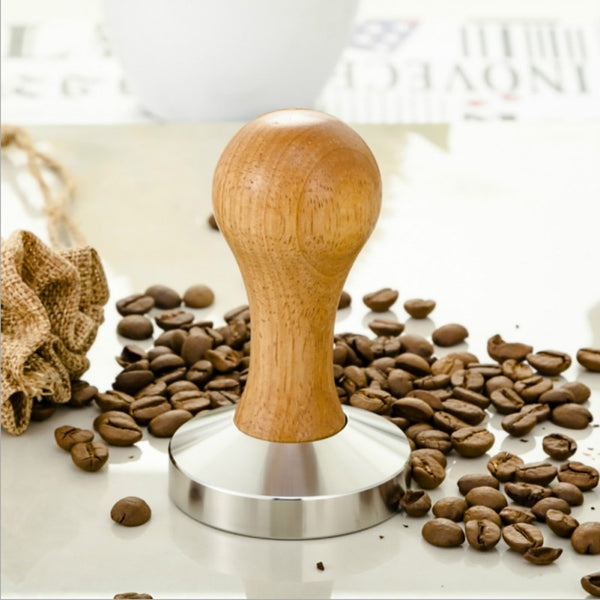 High Quality Stainless Steel 58mm Wooden Handle Coffee Tamper Barista Espresso Maker Grinder Handmade Flat Base Coffee Hammer