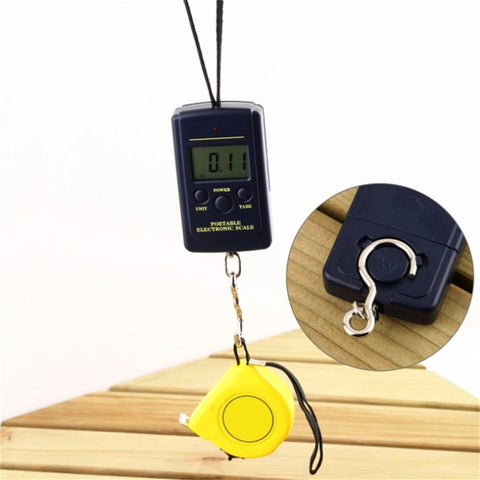 Home Car Protable 40Kg Pockets Digital Scale Electronic Hanging Luggage Scale Multi Used Balance Weight Steelyard Black