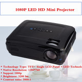 Home Mini Projector 1080P HD Home Theater With HDMI USB SD VGA AV TV Port Black US Plug 100-240V