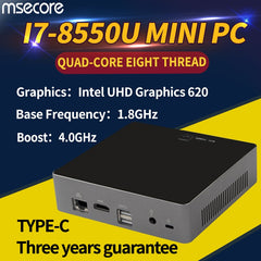 MSECORE 8TH Gen Quad-core I7 8550U Gaming Mini PC Windows 10 Desktop Computer barebone Nettop linux intel UHD620 wifi bluetooth