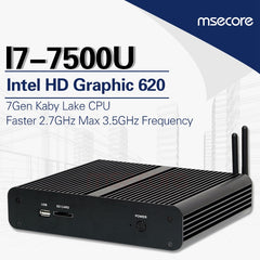 MSECORE Fanless Intel core i7 7500U Gaming Mini PC i5 Windows 10 Desktop Computer linux Nettop barebone HTPC HD620 4K 300M WiFi