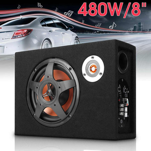 Mini 8 Inch Car Ultra Thin Under-Seat Subwoofer Speaker 480W Vehicle Car Subwoofer Modified Speaker Stereo Audio Bass Amplifier