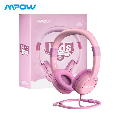 Mpow CH1S Wired Kids Headphones With Mic Cute 85DB Volume Limited Hearing Protection Over Ear Headphones For Kids Girls Boys