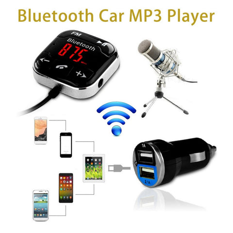 Newest Car Kit Wireless Bluetooth Car FM Stereo System Transmitter USB Remote Hands-free Call MP3 Audio Player Transmission Hot