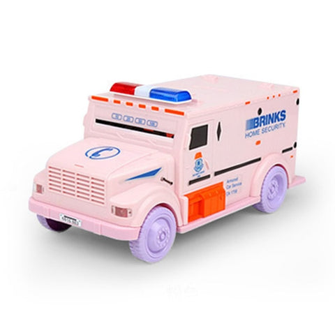 Novelty Design Cash Truck Shape Automatic Deposit Saving Box Electronic Light Password Coins Money Box Piggy Bank Child Gift