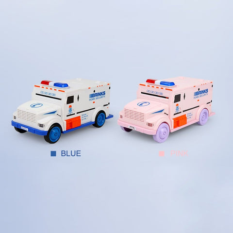 Novelty Money Box Cash Truck Shape Automatic Deposit Saving Box Electronic Light Password Coins Money Box Piggy Bank Kid Gift