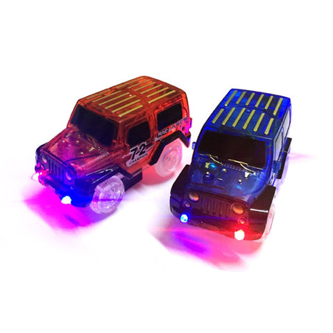 OCDAY LED light up Cars for Glow Race Track Electronic Car Toy Flashing Kid Railway Luminous Machine Track Car brinquedos HOT!
