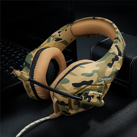 ONIKUMA K1-B Camouflage Pattern PS4 Gaming Headset Stereo Bass Headphones with microphone for PC Mobile phones Laptop Gamer
