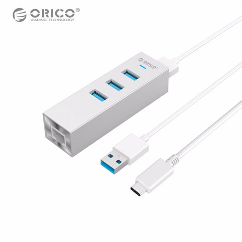 ORICO ASH3L-U3 Aluminum USB HUB High Speed USB3.0 Splitter with RJ45 Port Gigabit Ethernet Adapter for MAC Notebook