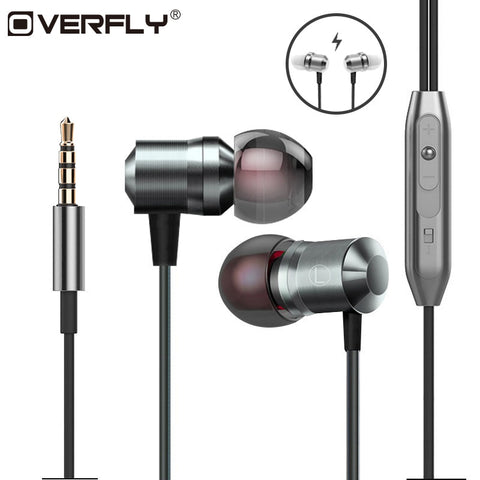 Overfly Metal Magnetic Headphones Heavy Bass Stereo fone de ouvido Sport Running Headset With Micr For Mobile Phone Earphones