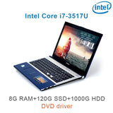 (P8-02) 15.6 inch High quality Intel Core i7 3517U 8G RAM 120GB /240GB SSD Optional DVD ROM HD Screen gaming notebook laptop