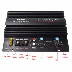PA-60A 12V Mono 600W High Power Car Audio Amplifier  Fashion Wire Drawing Powerful Bass Subwoofers Amplifier With 20A Fuse