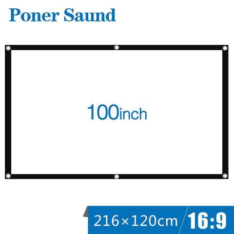 Poner Saund 100inch Fold Projector Screen Portable White Cloth Material LED Projector Home Theater Cinema Outdoor White Curtain