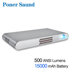 Poner Saund DLP-N1 Mini Portable Projector Battery 15000MAh Android WIFI Full 3D Bluetooth Home Theater HD 1080P HDMI USB SD