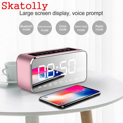 Portable Mirror Design Bluetooth Speaker Wireless Mini Alarm Clock Speaker Car Subwoofer Wireless Speaker Support FM TF Card
