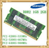 Samsung Laptop memory 1GB 2GB DDR2 533 667 800MHz PC2-4200 5300 6400 Notebook RAM 800 6400S 2G 200-pin