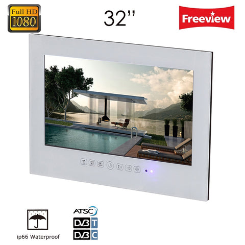 Souria 32 inch White/Black Wall Mount Waterproof Bathroom Hotel Kitchen Big Screen lcd IP66 IP67 LED TV