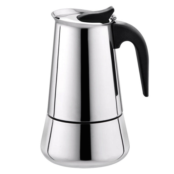 Stainless Steel Wide Bottom Coffee Pot For Moka Espresso Maker Pot 100ml(2 cups)+200ml(4 cups)+300ml(6 cups)+450ml(9 cups) L3