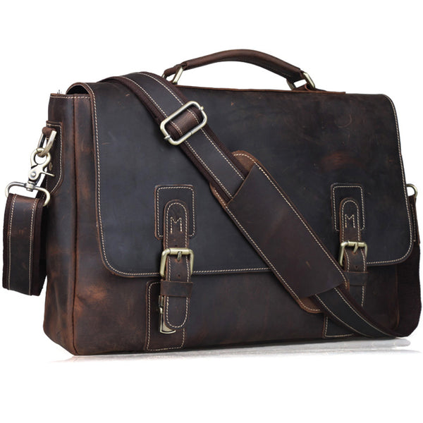 TIDING Crazy Horse Genuine Leather Briefcases 14