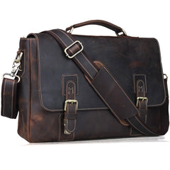 "TIDING Crazy Horse Genuine Leather Briefcases 14"" Laptop Bag Shoulder Bag Fashion Vintage Handbag Dark Brown 80692"
