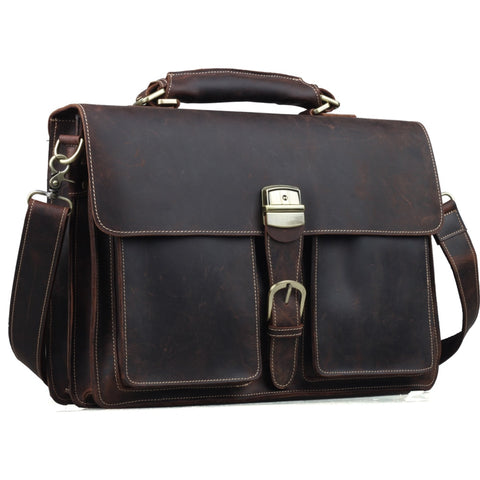 "TIDING Mens Brown Genuine Leather 16"" Laptop Bags Briefcase Tote Business Office Case 1031"