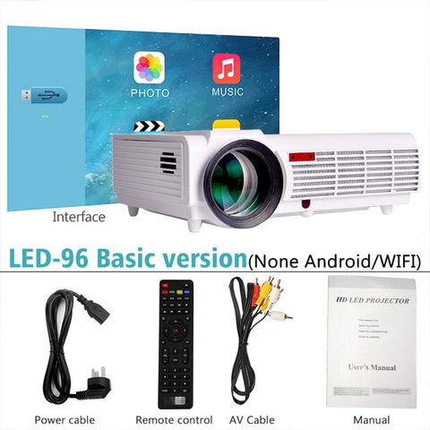 ThundeaL LED96+ Projector 3D Home Theater Optional Android 6.0 WiFi LED96W LED96+W Projector 1080P Full HD Video Home Theater