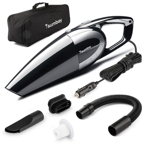Tsumbay 12V Portable Car Vacuum Cleaner  5000pa 120W Power Suction Handheld Car Vaccum Cleaner Wet Dry Use with 14.8ft Long Cord