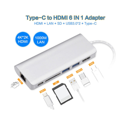 USB-C Hub, Aluminum Type C Adapter with HDMI Port, Gigabit Ethernet Port, USBC Power Delivery, 2 USB 3.0 Ports, SD Card Reader
