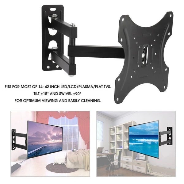 Universal TV Wall Mount Bracket Swivel Tilt Fixed Flat Panel TV Stand Holder Frame for 14-42 Inches LCD LED TV Monitor
