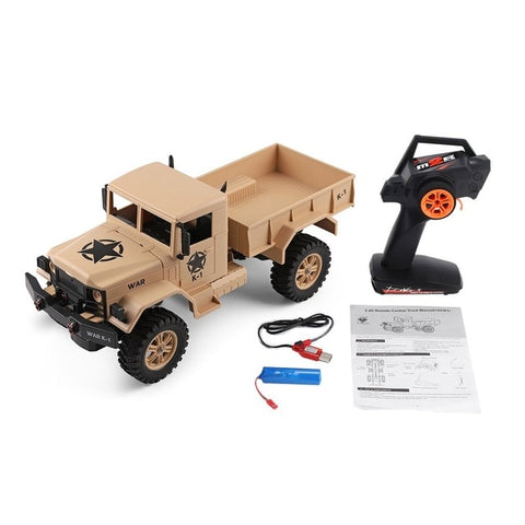 WLtoys 124301 2.4Ghz 1:12 4WD Off-road RC Military Truck Vehicle Electronic Car Remote Control Truck Model Toys for Kids Adults