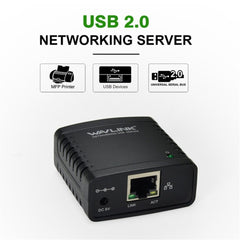 Wavlink USB2.0 LPR Printer Adapter USB Hub High Speed 100Mbps Printer Sharing For Network Server Print Share LAN Networking