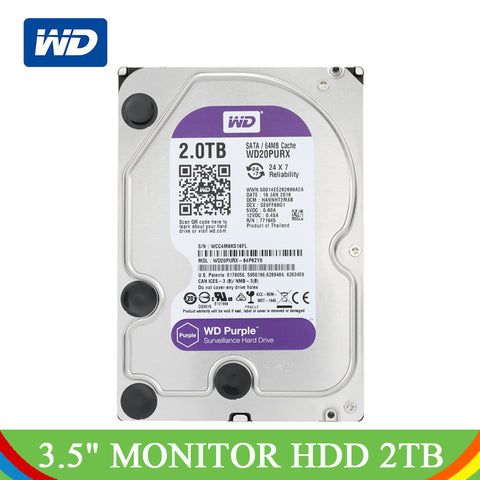 Western Digital 2TB Purple WD Surveillance Hard Disk Drive 3.5'' 2 TB SATA HDD Monitor Hard Drive Internal Darddisk For Computer
