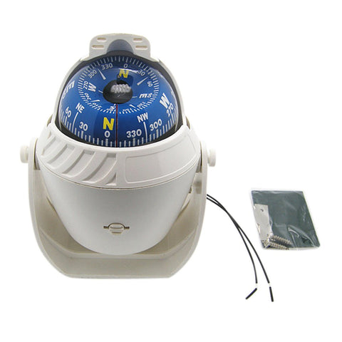 White ABS High Precision LED Light Electronic Vehicle Car Compass Navigation Sea Marine Military Car Boat Ship Compass