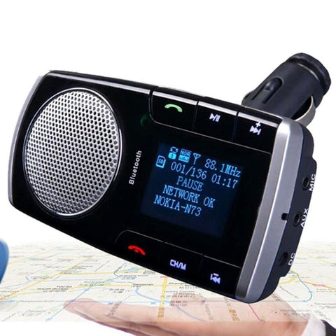 Wireless Bluetooth Car Kit 2.1A Car Charger Hands Free FM Transmitter MP3 Music Player USB LED Screen with Remote Control Hot