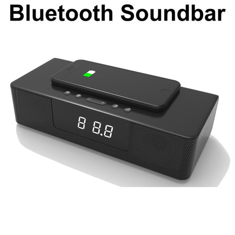 Wireless Bluetooth Column Soundbar Stereo Speaker Powerful TV Home Theater 4.0A Built-in Battery Sound Bar TF USB Clock Display
