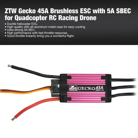ZTW Gecko 45A Brushless ESC Electronic Speed Controller with 5A SBEC for Quadcopter RC Racing Drone Aircraft
