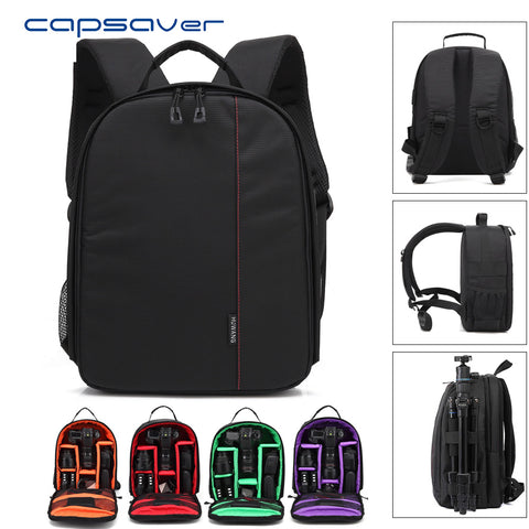"capsaver DSLR Camera Bag Shoulder Backpack Video Photo 12"" Laptop Case Removable Interior Dividers Rain Cover Outdoor Photograpy"