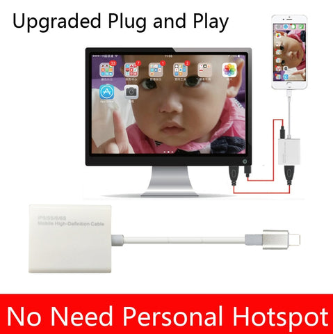 iOS 10.3 iOS 11 HDTV HDMI Cable Adapter For iPhone to TV for iPhone 8 plus 7 6 6S Plus 5 5S For iPad Audio Video to HDMI TV
