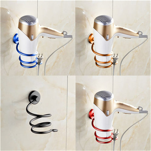 multi color bathroom organizer Hair Dryer Rack Aluminum home Wall mounted Holder Shelf Storage stand hooks drop shipping 2016