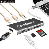 usb type-c hub thunderbolt 3 Multiport dock hdmi 4k usb3.0 usb3.1 type-c charge cable tf sd card 7in1 Adapter For macbook pro 15