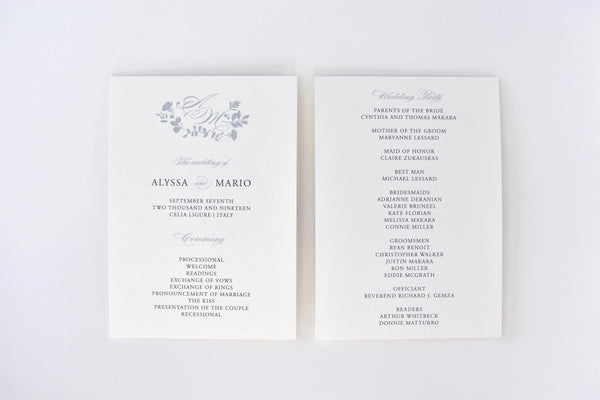 Alyssa Ceremony Program / Itinerary