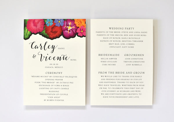 Carley Ceremony Program / Itinerary