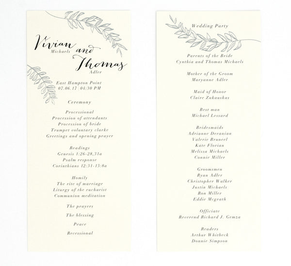 Vivian Ceremony Program / Itinerary
